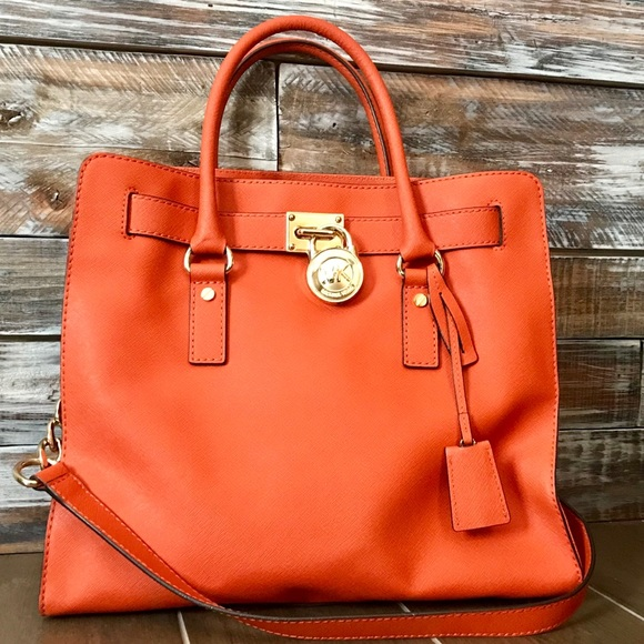 e5d56181b03c ... norway michael kors hamilton large tangerine leather tote 1973e d1dcf